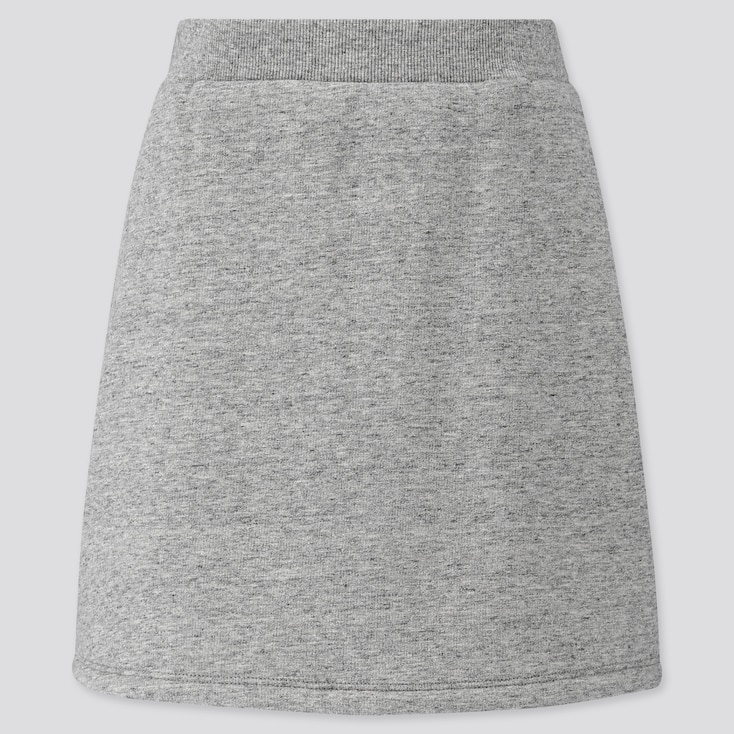 GIRLS PILE-LINED SWEAT SKIRT, GRAY, large