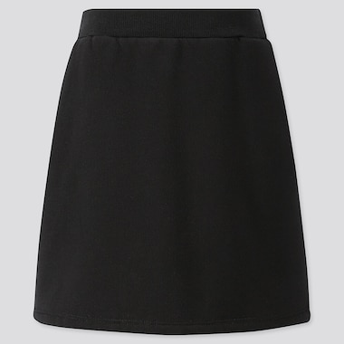 GIRLS PILE-LINED SWEAT SKIRT, BLACK, medium
