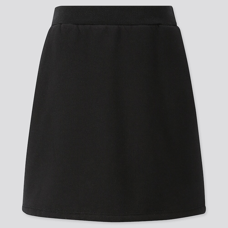 Girls Pile-lined Sweat Skirt, Black, Large
