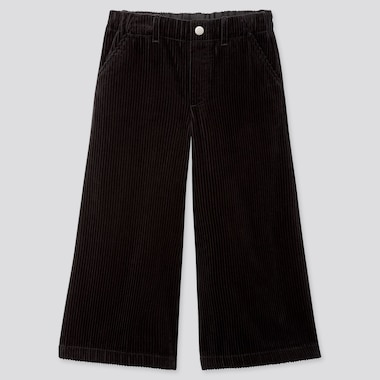 GIRLS CORDUROY WIDE CROPPED PANTS, BLACK, medium