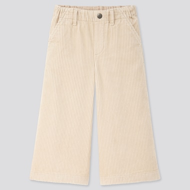 GIRLS CORDUROY WIDE CROPPED PANTS, NATURAL, medium