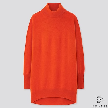 WOMEN 3D CASHMERE TURTLENECK TUNIC, ORANGE, medium