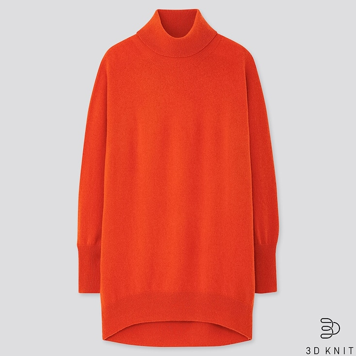 WOMEN 3D CASHMERE TURTLENECK TUNIC, ORANGE, large