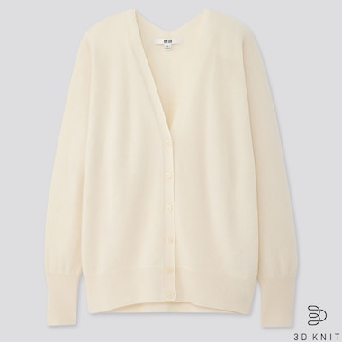 WOMEN 3D CASHMERE V-NECK COCOON CARDIGAN (ONLINE EXCLUSIVE), OFF WHITE, medium