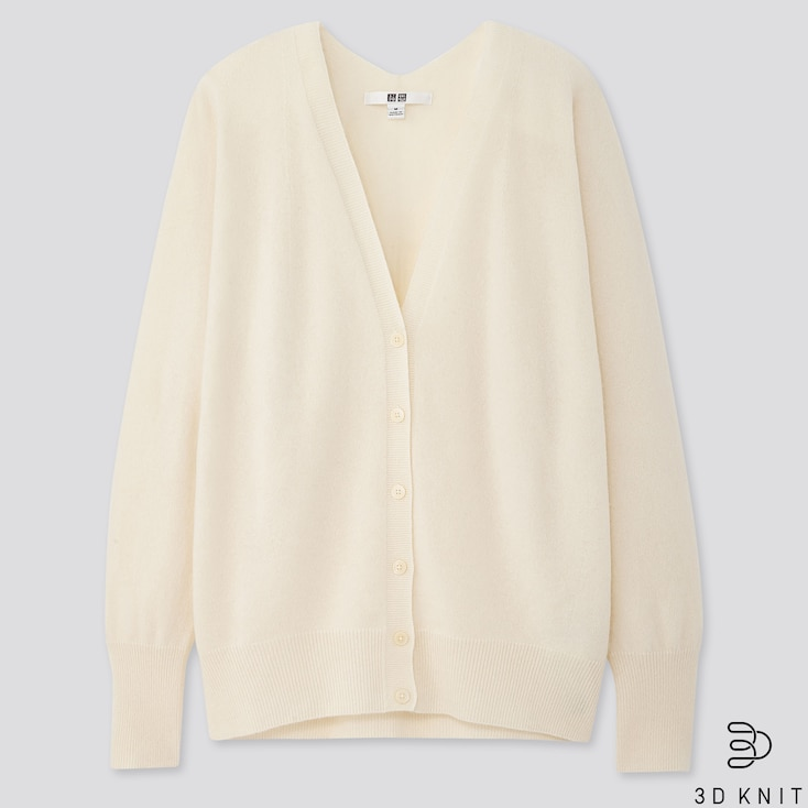 Women 3d Cashmere V-neck Cocoon Cardigan (online Exclusive), Off White, Large