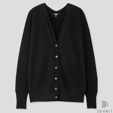 WOMEN 3D CASHMERE V-NECK COCOON CARDIGAN (ONLINE EXCLUSIVE), BLACK, medium