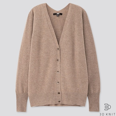 WOMEN 3D CASHMERE V-NECK COCOON CARDIGAN (ONLINE EXCLUSIVE), BEIGE, medium