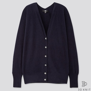 WOMEN 3D CASHMERE V-NECK COCOON CARDIGAN (ONLINE EXCLUSIVE), NAVY, medium