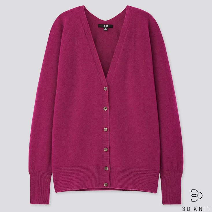 Women 3d Cashmere V-neck Cocoon Cardigan (online Exclusive), Purple, Large