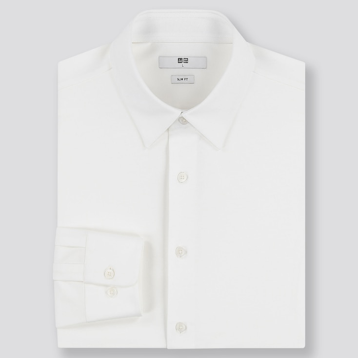 MEN EASY CARE JERSEY SLIM-FIT LONG-SLEEVE SHIRT, WHITE, large