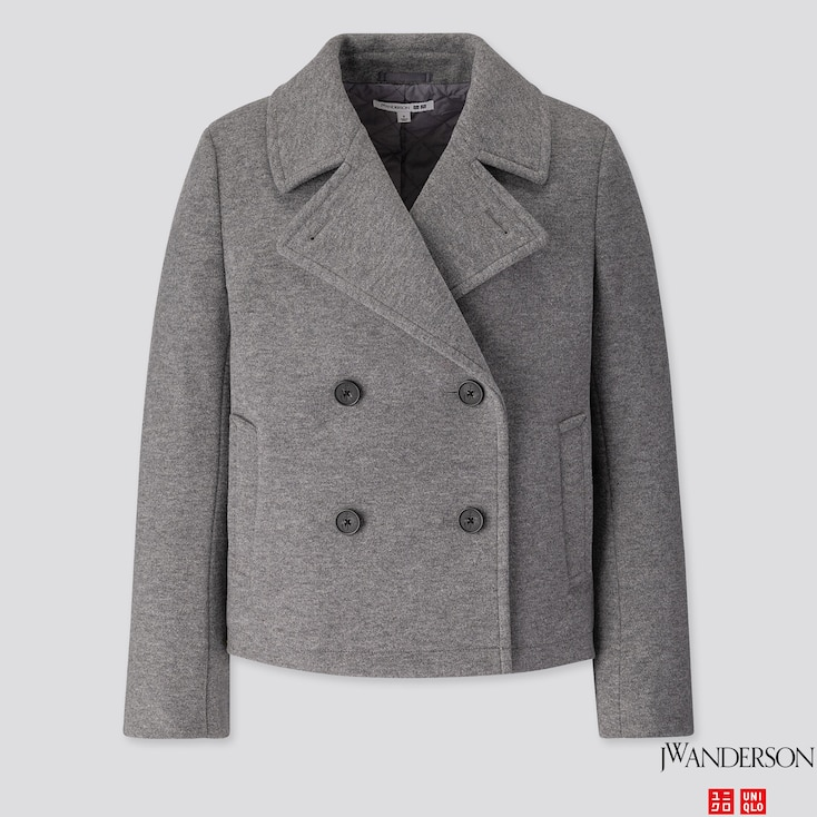 WOMEN SHORT PEACOAT (JW ANDERSON), GRAY, large