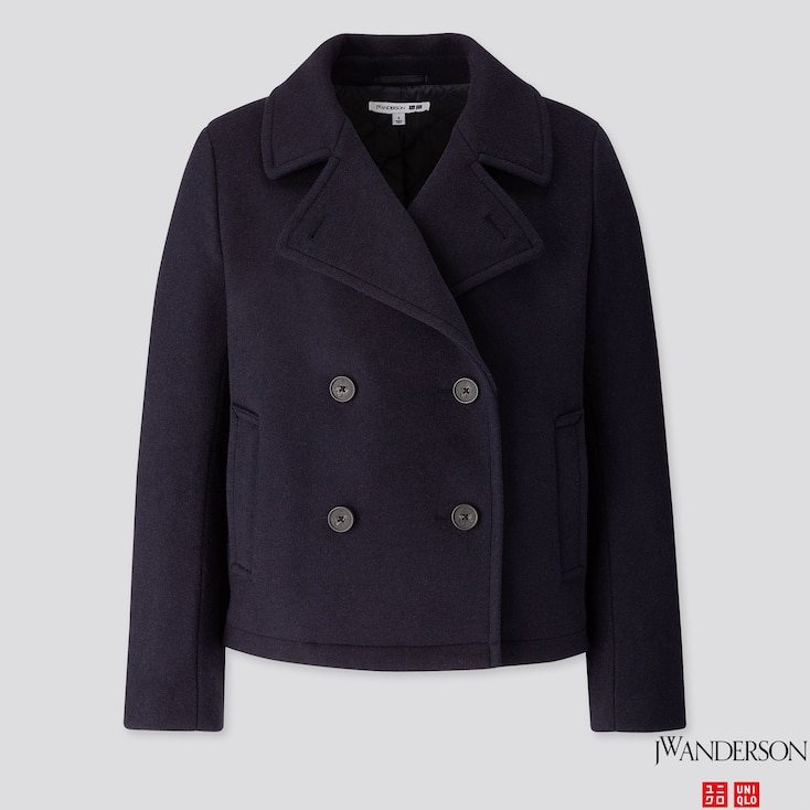 WOMEN SHORT PEACOAT (JW ANDERSON), NAVY, large