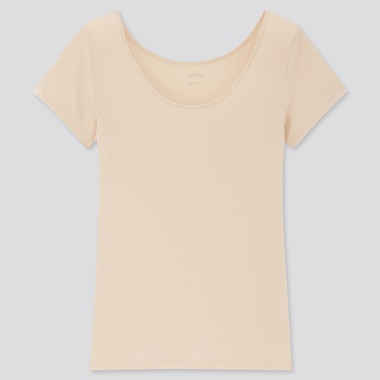 Women Airism Scoop Neck Short-Sleeve T-Shirt, Natural, Medium