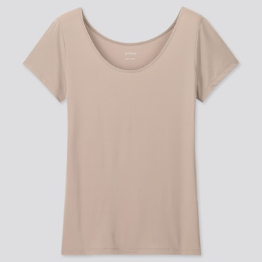 Women Airism Scoop Neck Short-Sleeve T-Shirt, Khaki, Medium
