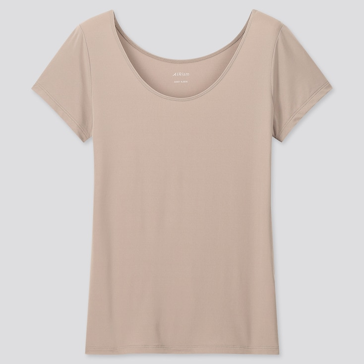 Women Airism Scoop Neck Short-Sleeve T-Shirt, Khaki, Large