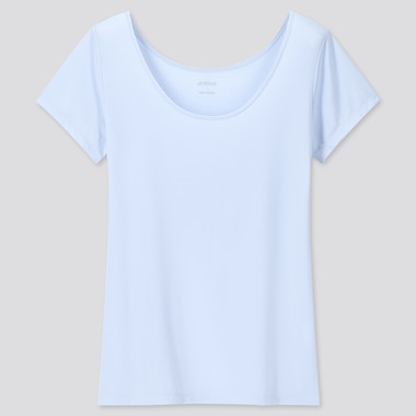Women Airism Scoop Neck Short-Sleeve T-Shirt, Light Blue, Medium