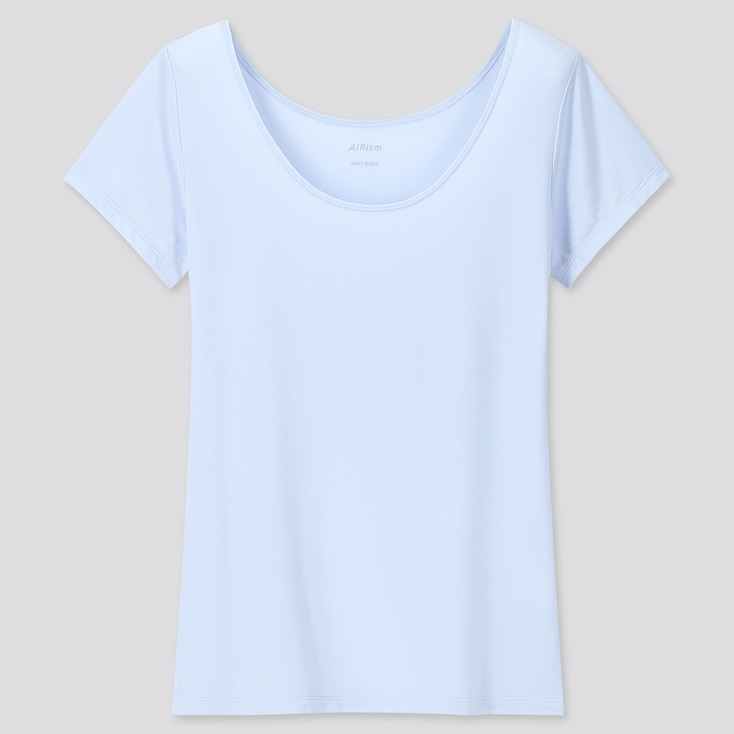 Women Airism Scoop Neck Short-Sleeve T-Shirt, Light Blue, Large
