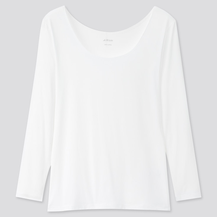 Women Airism Uv Protection Scoop Neck Long-Sleeve T-Shirt, White, Large