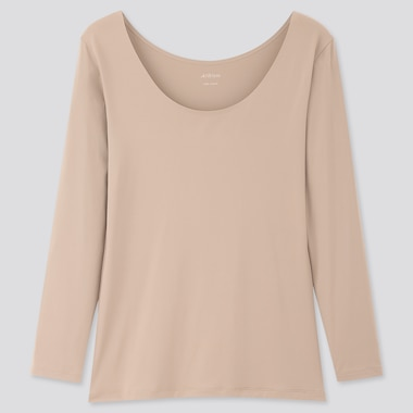 Women Airism Uv Protection Scoop Neck Long-Sleeve T-Shirt, Khaki, Medium