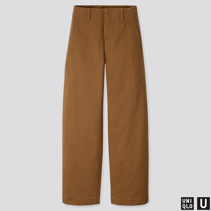 WOMEN U WIDE-FIT CURVED PANTS, BROWN, large