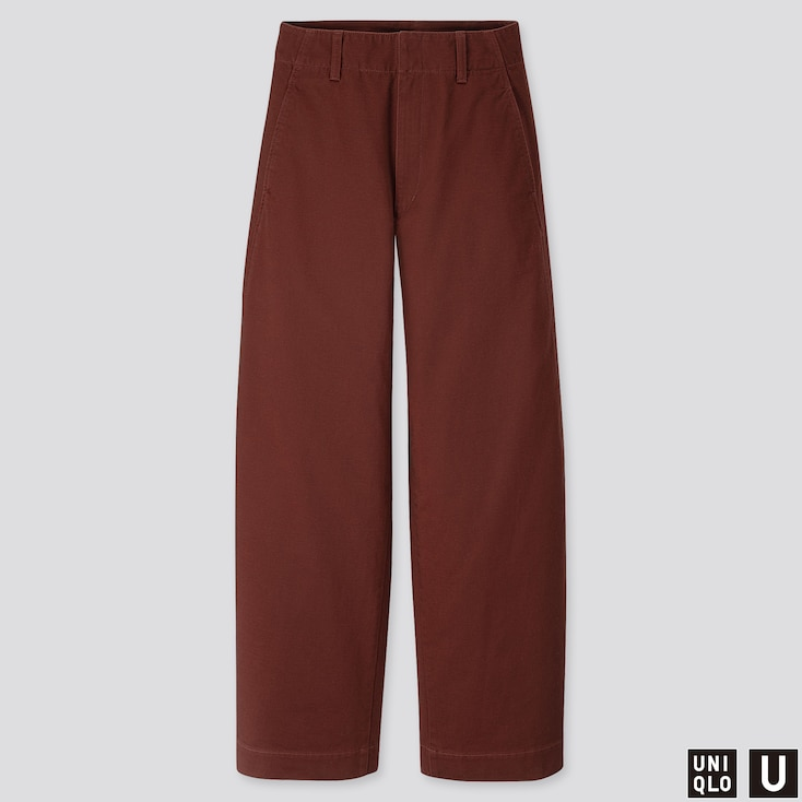 Women U Wide-Fit Curved Pants, Dark Brown, Large