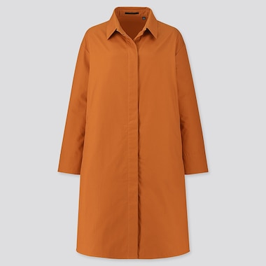 WOMEN COTTON SHIRT COAT, ORANGE, medium