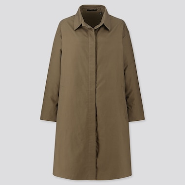 WOMEN COTTON SHIRT COAT, OLIVE, medium