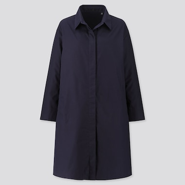 WOMEN COTTON SHIRT COAT, NAVY, medium