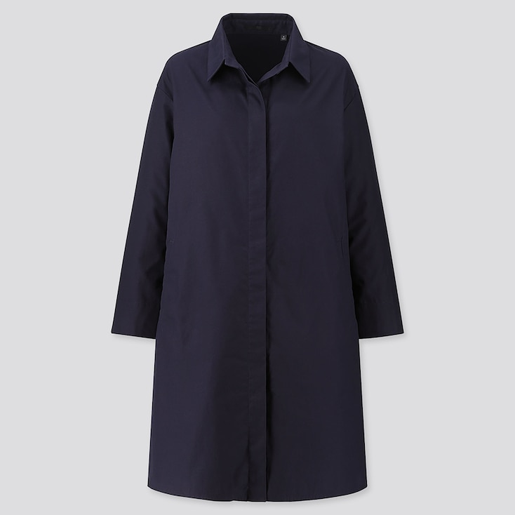 WOMEN COTTON SHIRT COAT, NAVY, large