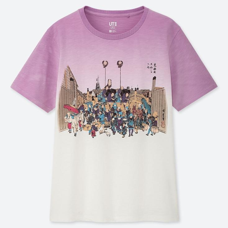 Women Edo Ukiyo-E Ut Hiroshige (Short-Sleeve Graphic T-Shirt), Off White, Large