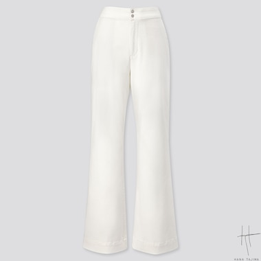 WOMEN COTTON FLARE PANTS (HANA TAJIMA), OFF WHITE, medium