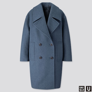 WOMEN U WOOL-BLEND LONG PEACOAT, BLUE, medium