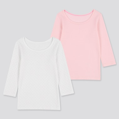 BABIES TODDLER COTTON LONG SLEEVED INNER T-SHIRT (TWO PACK)