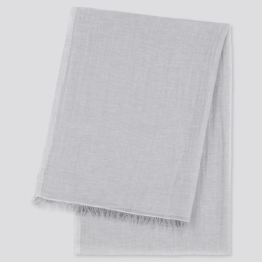 Women Cotton Linen Stole, Light Gray, Medium