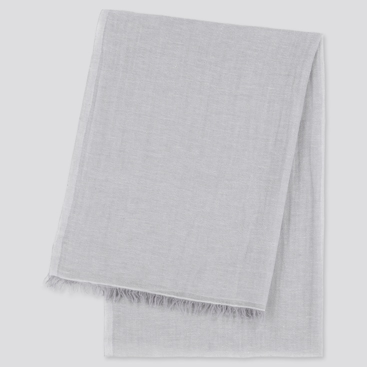 Women Cotton Linen Stole, Light Gray, Large