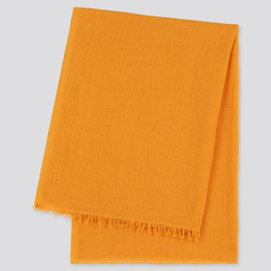 Women Cotton Linen Stole, Orange, Medium