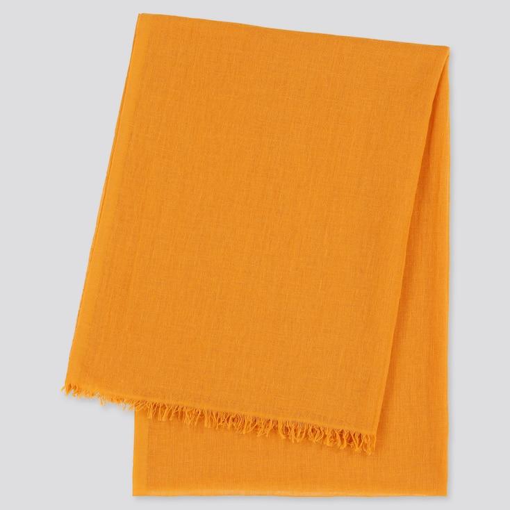 Women Cotton Linen Stole, Orange, Large