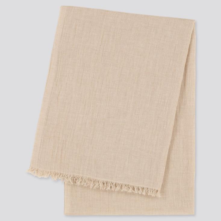 Women Cotton Linen Stole, Natural, Large