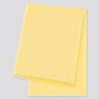 Women Cotton Linen Stole, Yellow, Medium