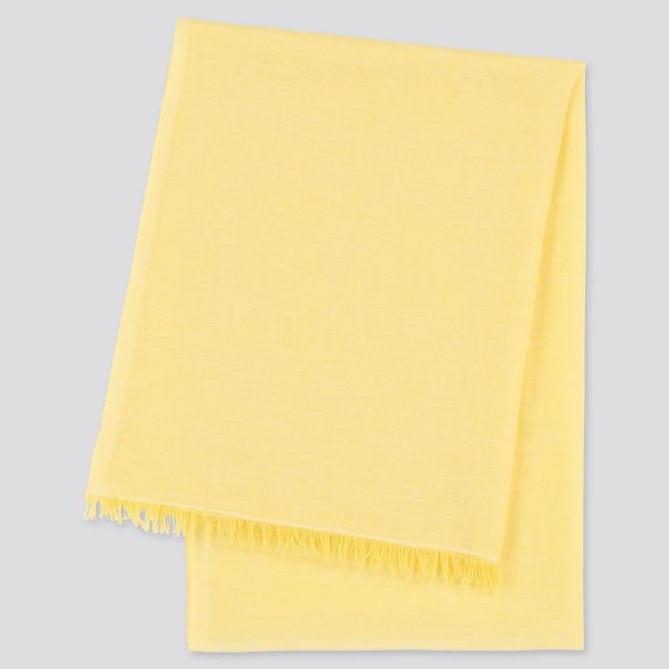 Women Cotton Linen Stole, Yellow, Large