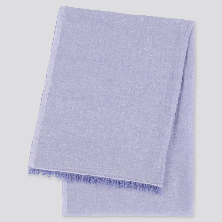 Women Cotton Linen Stole, Blue, Large