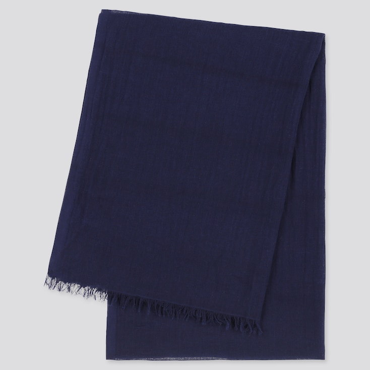 Women Cotton Linen Stole, Navy, Large