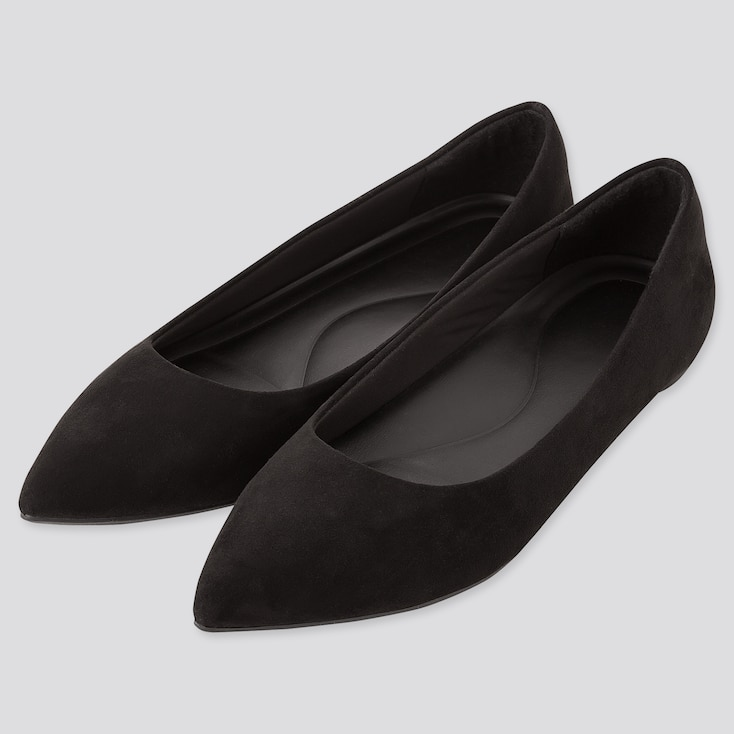 Women Comfort Feel Pointed Flat Shoes (Online Exclusive), Black, Large