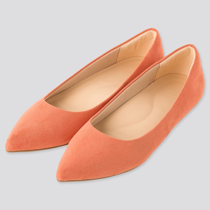 Women Comfort Feel Pointed Flat Shoes (Online Exclusive), Orange, Large