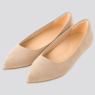 Women Comfort Feel Pointed Flat Shoes, Beige, Medium