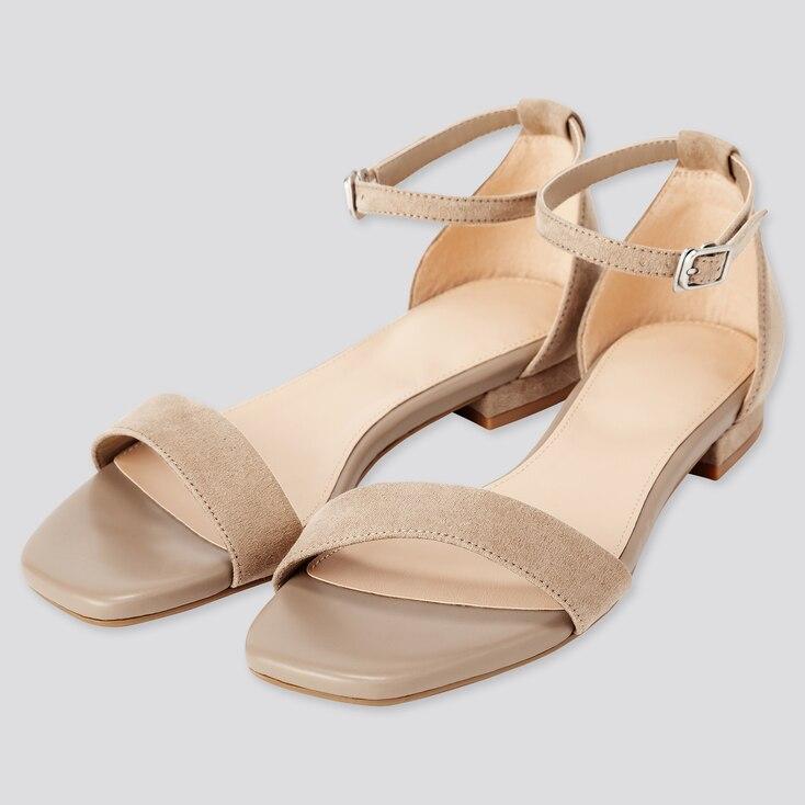 Women Ankle Strap Sandals, Beige, Large