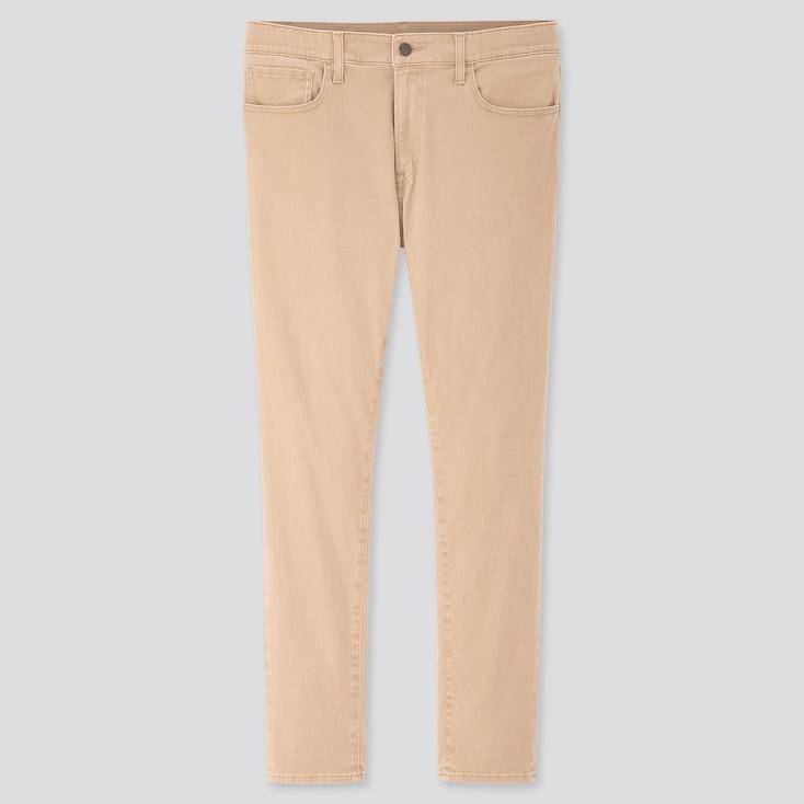 Men Ultra Stretch Skinny-Fit Color Jeans, Beige, Large