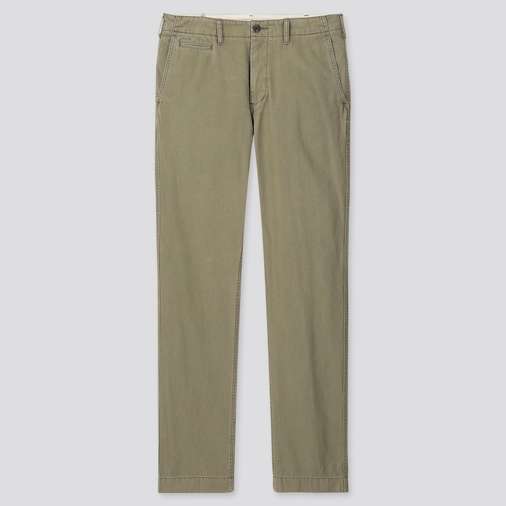 Men Vintage Regular-Fit Chino Pants, Olive, Large
