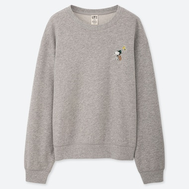WOMEN PEANUTS LONG-SLEEVE SWEATSHIRT, GRAY, medium