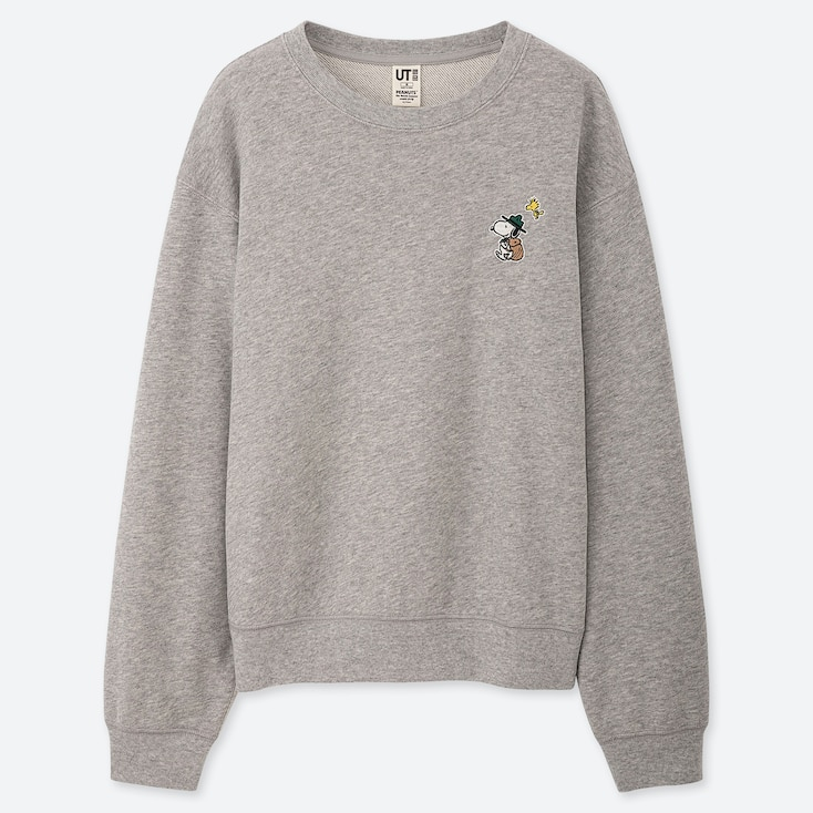 WOMEN PEANUTS LONG-SLEEVE SWEATSHIRT, GRAY, large